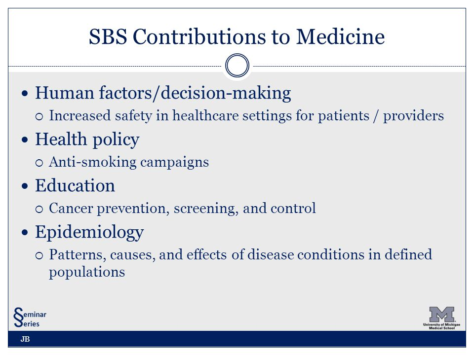 AAMC Report Recognizing SBS Behavioral and Social Science Foundations for Future Physicians (2011)  Over 50 percent of premature morbidity and mortality is caused by behavioral and social determinants of health such as smoking, diet, exercise, and socioeconomic status  While complex and not easily remedied, each of these phenomena is amenable to behavioral and social sciences study and intervention.