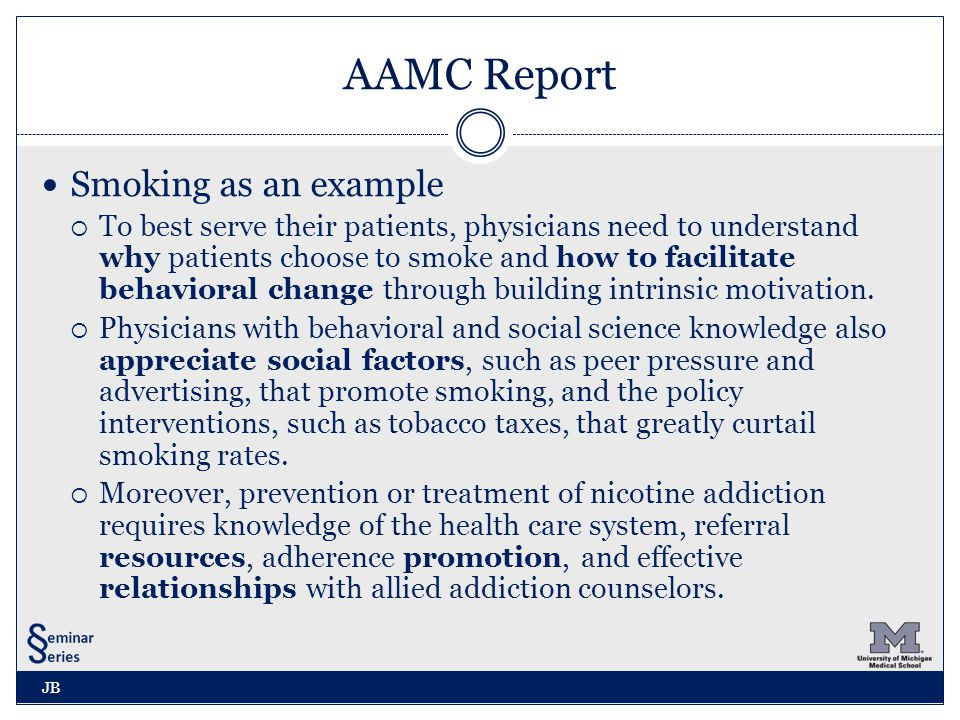 AAMC Report Smoking as an example  To best serve their patients, physicians need to understand why patients choose to smoke and how to facilitate behavioral change through building intrinsic motivation.