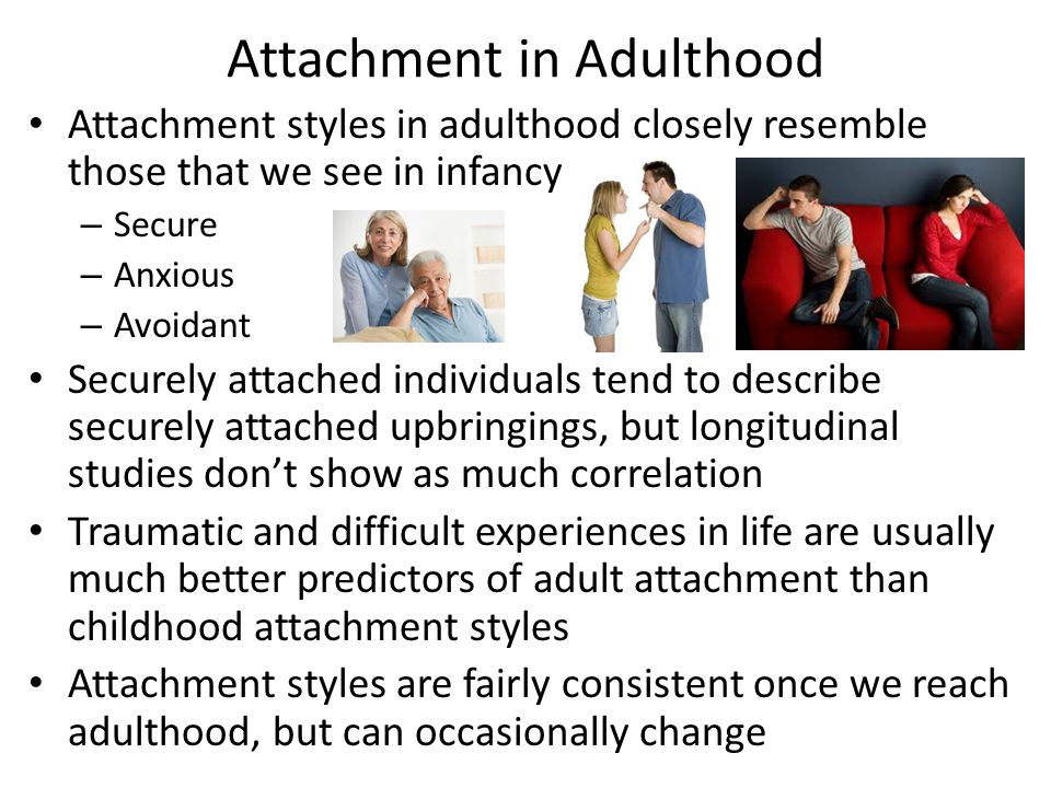 Attachment in Adulthood Attachment styles in adulthood closely resemble those that we see in infancy – Secure – Anxious – Avoidant Securely attached individuals tend to describe securely attached upbringings, but longitudinal studies don't show as much correlation Traumatic and difficult experiences in life are usually much better predictors of adult attachment than childhood attachment styles Attachment styles are fairly consistent once we reach adulthood, but can occasionally change