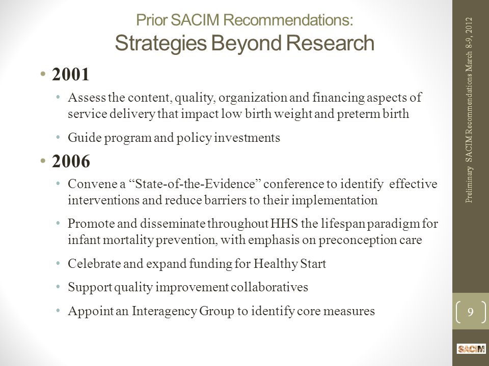 Prior SACIM Recommendations: Deficit Reduction Act and Medicaid (2006) Consistent CMS policy for approval of State Plans.