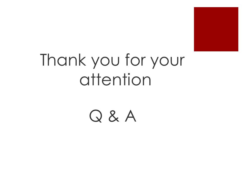 Thank you for your attention Q & A