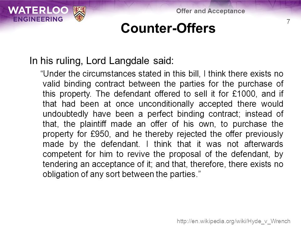 Counter-Offers A query for further information, however, does not constitute the rejection of the initial offer—the offer is still open Under the circumstances stated in this bill, I think there exists no valid binding contract between the parties for the purchase of this property.