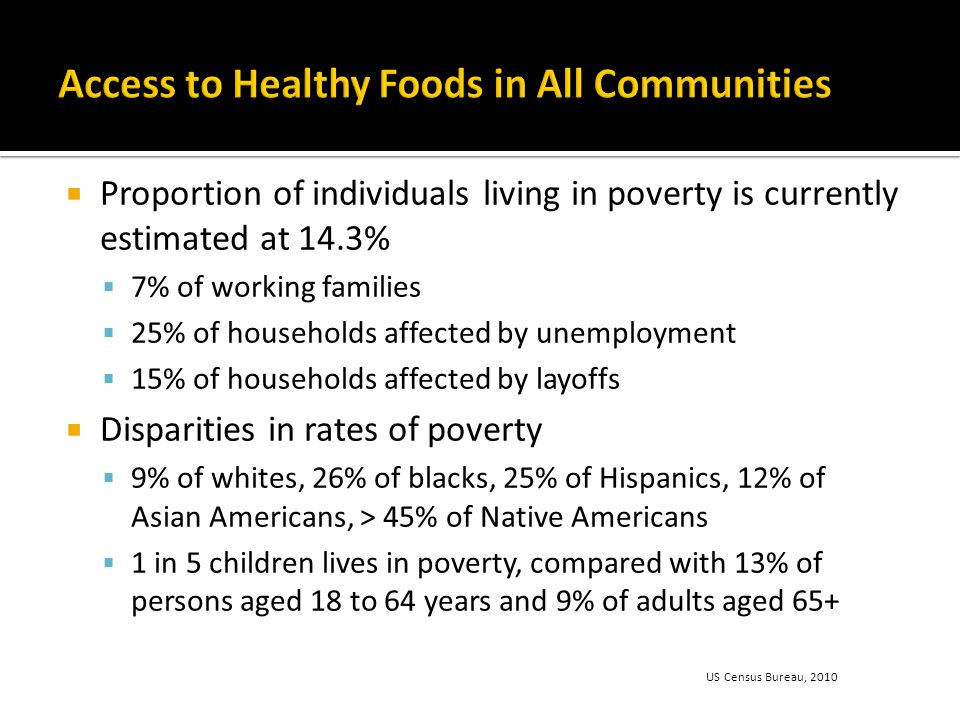  Proportion of individuals living in poverty is currently estimated at 14.3%  7% of working families  25% of households affected by unemployment  15% of households affected by layoffs  Disparities in rates of poverty  9% of whites, 26% of blacks, 25% of Hispanics, 12% of Asian Americans, > 45% of Native Americans  1 in 5 children lives in poverty, compared with 13% of persons aged 18 to 64 years and 9% of adults aged 65+ US Census Bureau, 2010