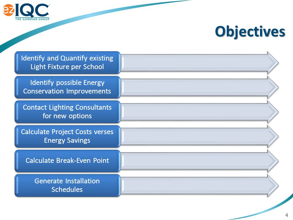 4 Identify and Quantify existing Light Fixture per School Identify possible Energy Conservation Improvements Contact Lighting Consultants for new options Calculate Project Costs verses Energy Savings Calculate Break-Even Point Generate Installation Schedules Objectives