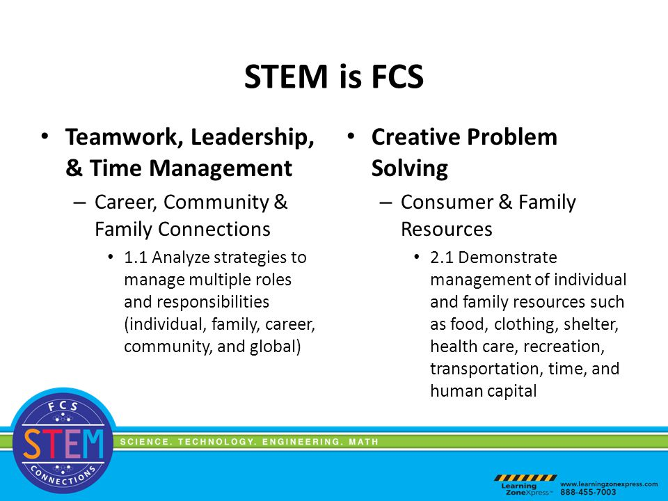 STEM is FCS Teamwork, Leadership, & Time Management – Career, Community & Family Connections 1.1 Analyze strategies to manage multiple roles and responsibilities (individual, family, career, community, and global) Creative Problem Solving – Consumer & Family Resources 2.1 Demonstrate management of individual and family resources such as food, clothing, shelter, health care, recreation, transportation, time, and human capital