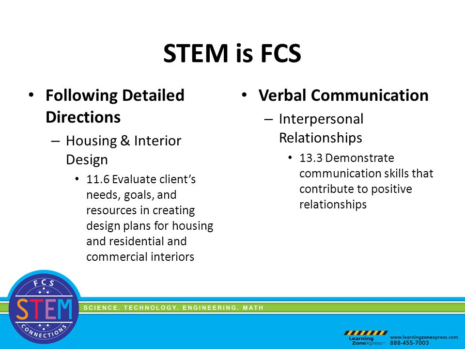 STEM is FCS Following Detailed Directions – Housing & Interior Design 11.6 Evaluate client's needs, goals, and resources in creating design plans for housing and residential and commercial interiors Verbal Communication – Interpersonal Relationships 13.3 Demonstrate communication skills that contribute to positive relationships