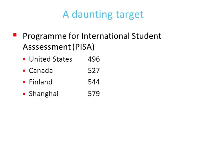 A daunting target  Programme for International Student Asssessment (PISA)  United States496  Canada527  Finland544  Shanghai579