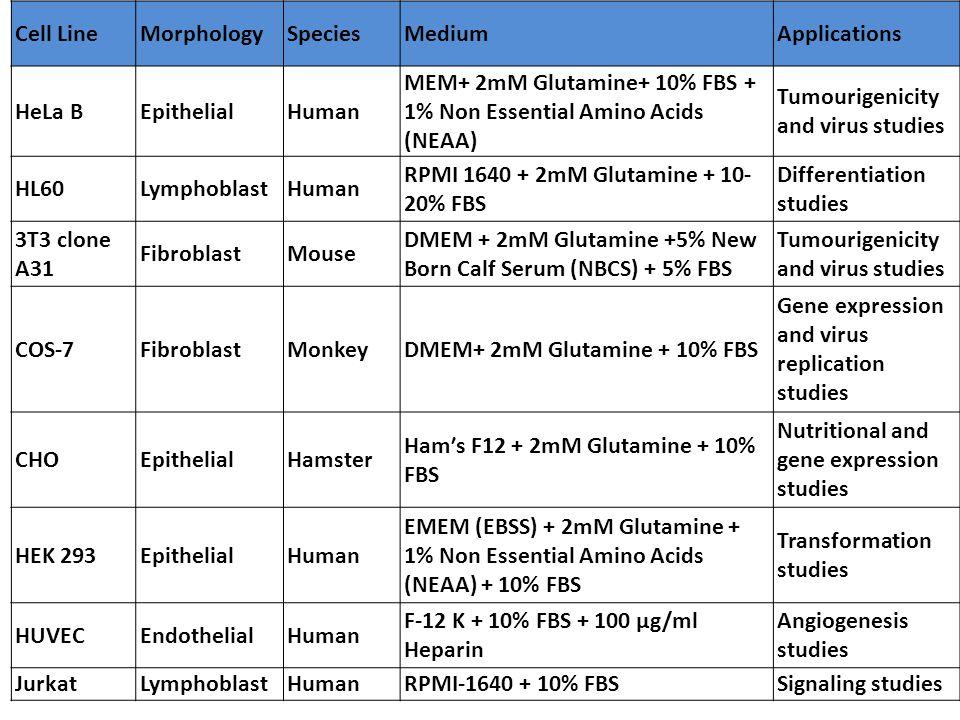 Cell LineMorphologySpeciesMediumApplications HeLa BEpithelialHuman MEM+ 2mM Glutamine+ 10% FBS + 1% Non Essential Amino Acids (NEAA) Tumourigenicity a