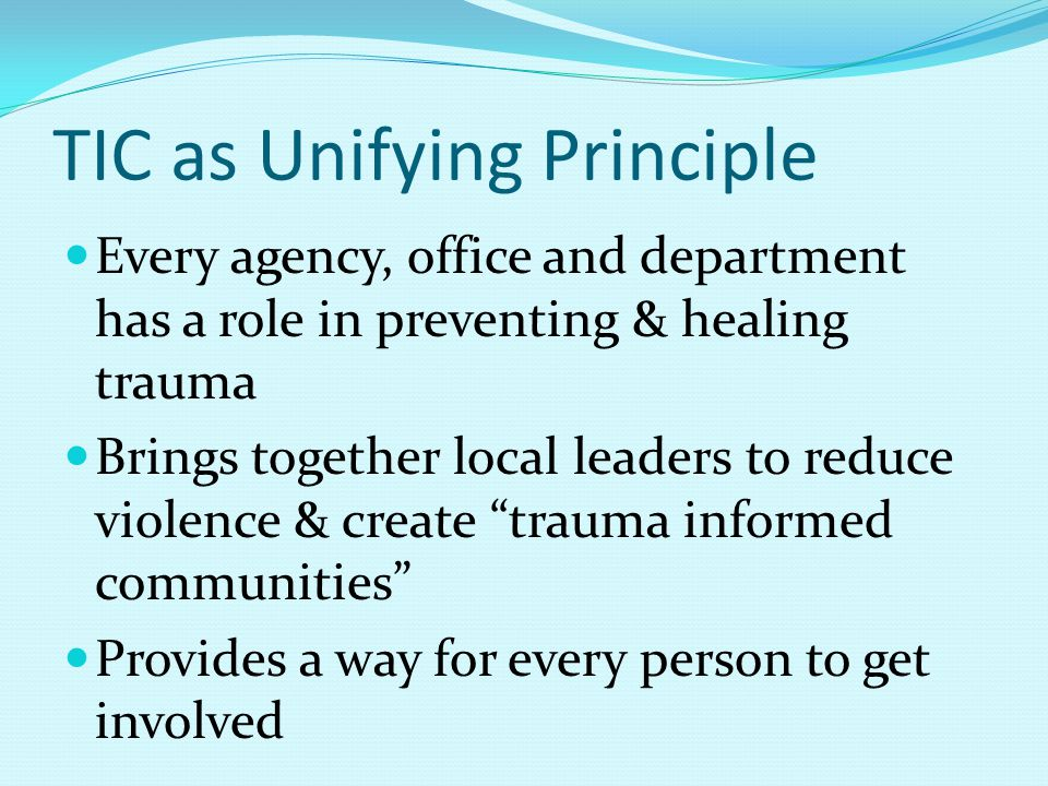 TIC as Unifying Principle Every agency, office and department has a role in preventing & healing trauma Brings together local leaders to reduce violence & create trauma informed communities Provides a way for every person to get involved