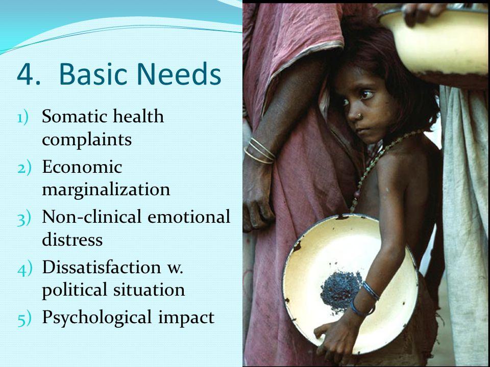 4. Basic Needs 1) Somatic health complaints 2) Economic marginalization 3) Non-clinical emotional distress 4) Dissatisfaction w. political situation 5