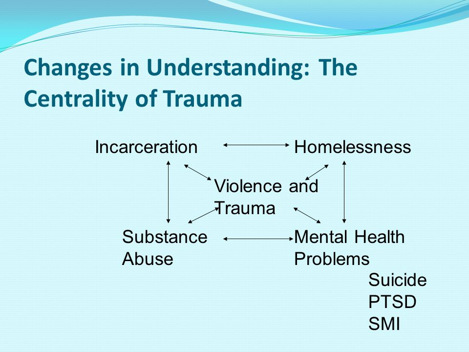 Changes in Understanding: The Centrality of Trauma HomelessnessIncarceration Substance Abuse Mental Health Problems Violence and Trauma Suicide PTSD SMI