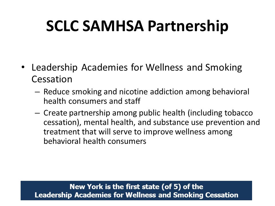 SCLC SAMHSA Partnership Leadership Academies for Wellness and Smoking Cessation – Reduce smoking and nicotine addiction among behavioral health consumers and staff – Create partnership among public health (including tobacco cessation), mental health, and substance use prevention and treatment that will serve to improve wellness among behavioral health consumers New York is the first state (of 5) of the Leadership Academies for Wellness and Smoking Cessation
