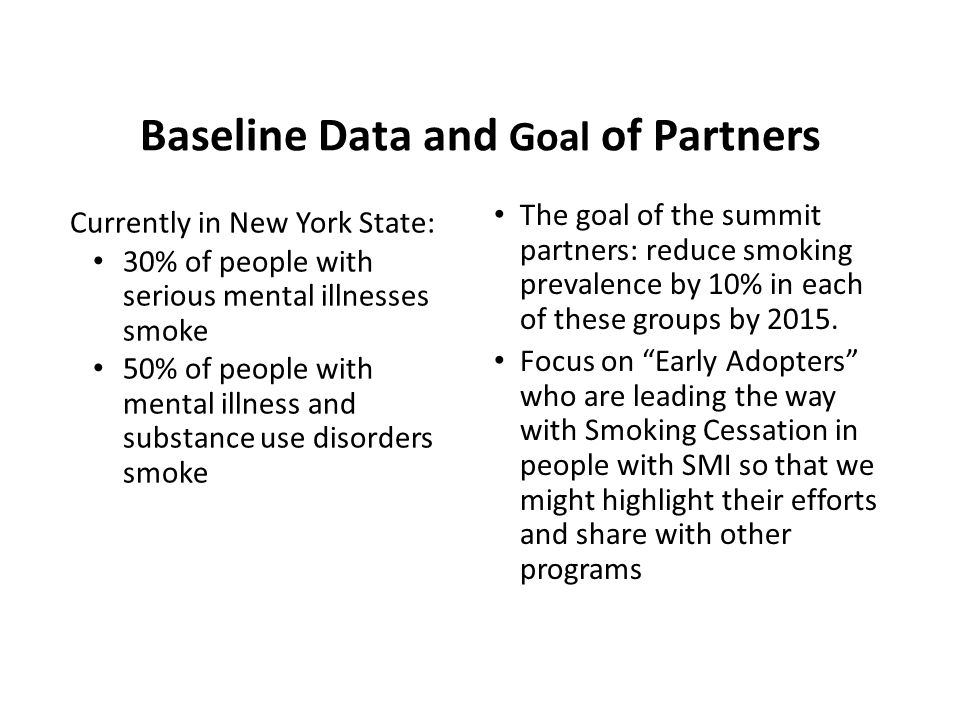Currently in New York State: 30% of people with serious mental illnesses smoke 50% of people with mental illness and substance use disorders smoke The goal of the summit partners: reduce smoking prevalence by 10% in each of these groups by 2015.