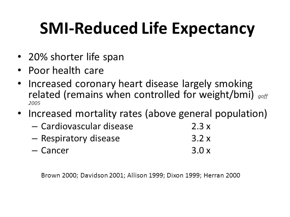 SMI-Reduced Life Expectancy 20% shorter life span Poor health care Increased coronary heart disease largely smoking related (remains when controlled for weight/bmi) goff 2005 Increased mortality rates (above general population) – Cardiovascular disease2.3 x – Respiratory disease3.2 x – Cancer3.0 x Brown 2000; Davidson 2001; Allison 1999; Dixon 1999; Herran 2000