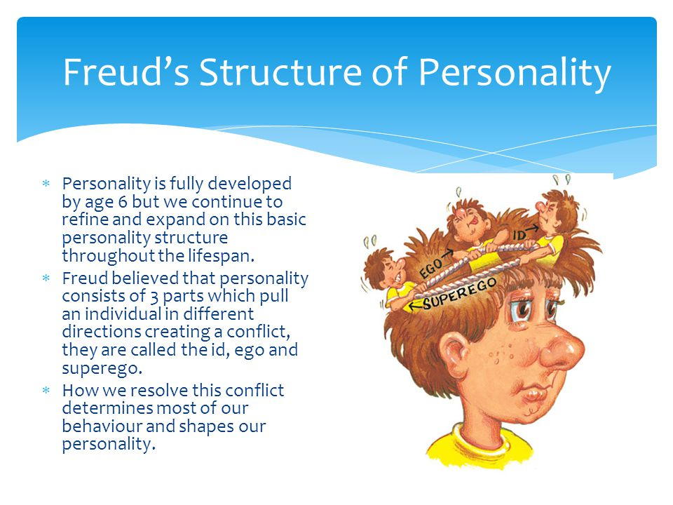 Freud's Structure of Personality  Personality is fully developed by age 6 but we continue to refine and expand on this basic personality structure throughout the lifespan.