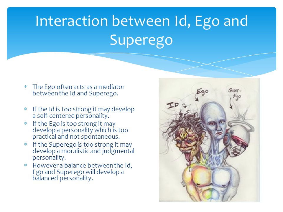 Interaction between Id, Ego and Superego  The Ego often acts as a mediator between the Id and Superego.