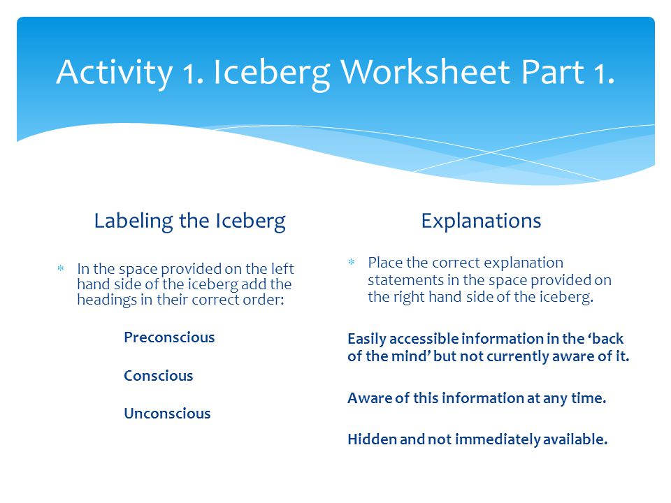 Activity 1. Iceberg Worksheet Part 1.