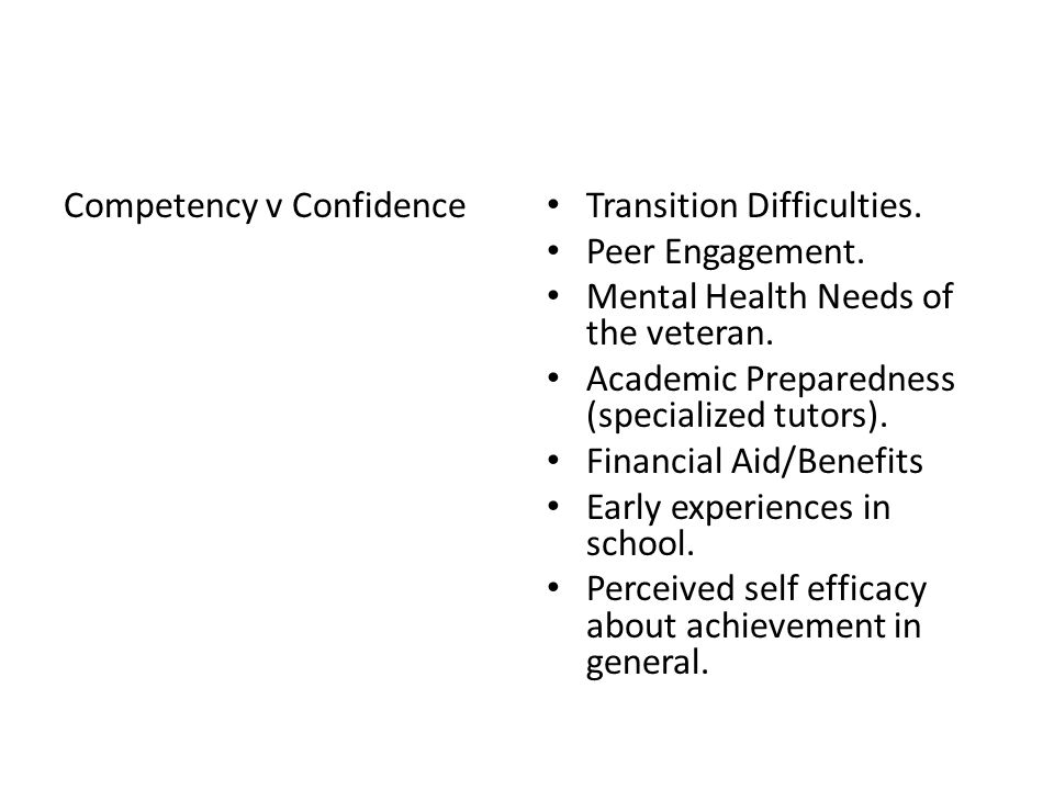 Competency v Confidence Transition Difficulties. Peer Engagement.