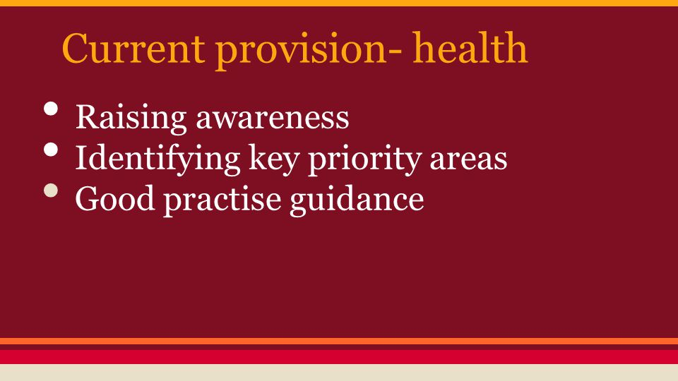 Current provision- health Raising awareness Identifying key priority areas Good practise guidance