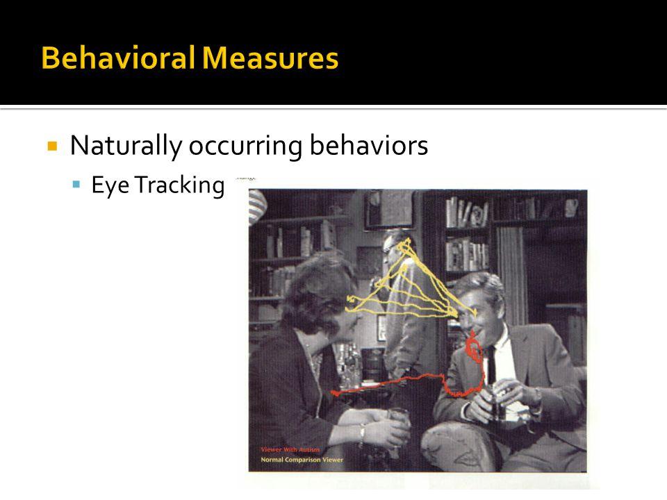  Naturally occurring behaviors  Eye Tracking
