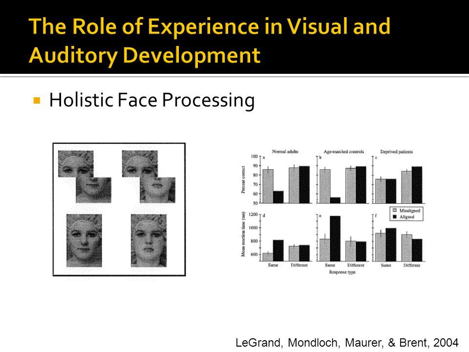  Holistic Face Processing LeGrand, Mondloch, Maurer, & Brent, 2004
