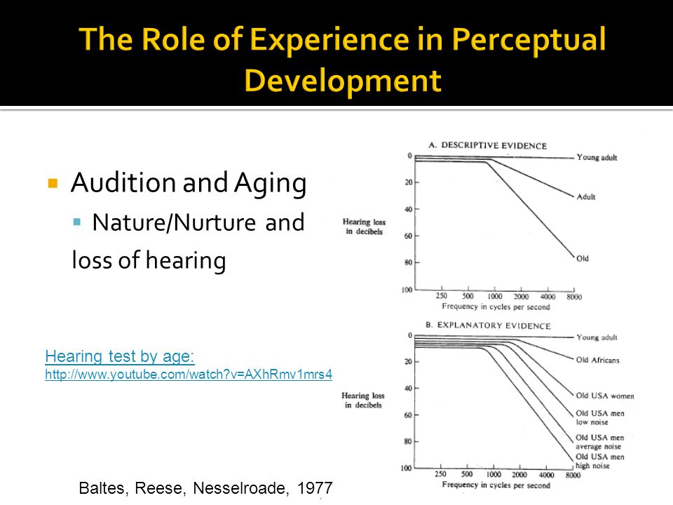  Audition and Aging  Nature/Nurture and loss of hearing Baltes, Reese, Nesselroade, 1977 Hearing test by age: http://www.youtube.com/watch?v=AXhRmv1