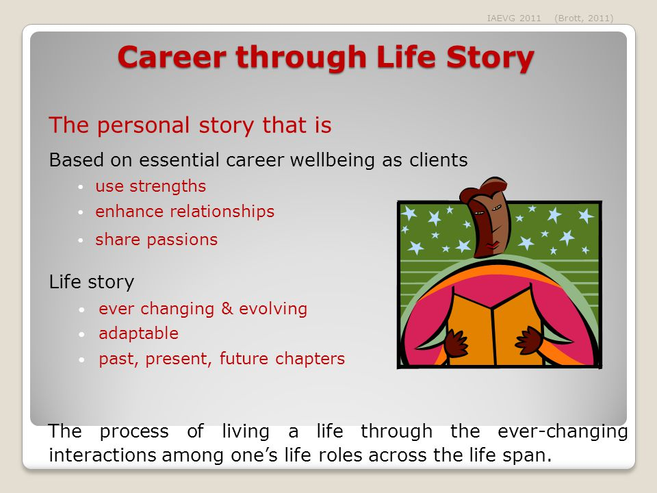 Career through Life Story The personal story that is Based on essential career wellbeing as clients use strengths enhance relationships share passions Life story ever changing & evolving adaptable past, present, future chapters The process of living a life through the ever-changing interactions among one's life roles across the life span.