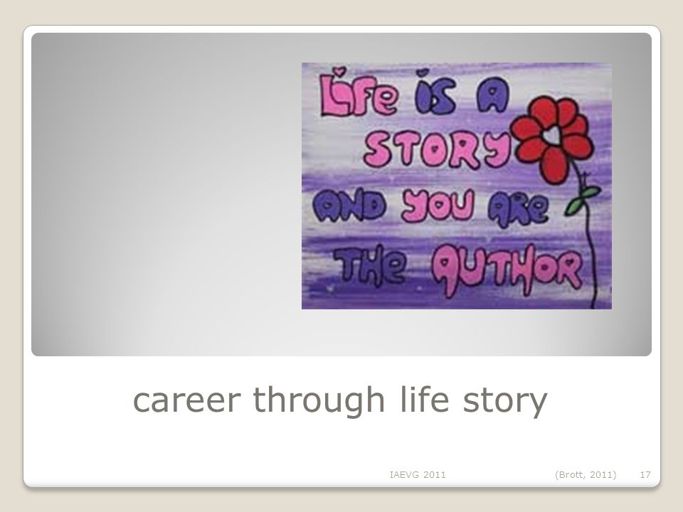 career through life story IAEVG 2011(Brott, 2011) 17