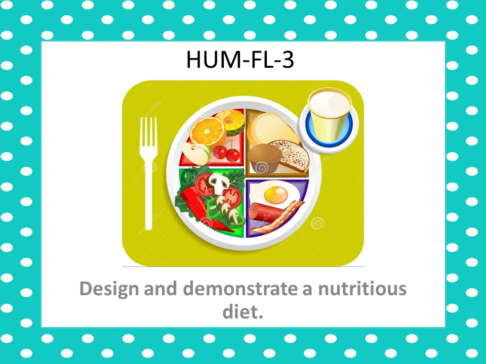 HUM-FL-3 Design and demonstrate a nutritious diet.