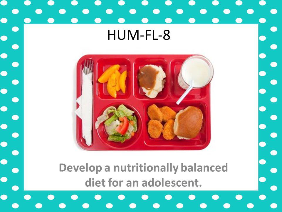 HUM-FL-8 Develop a nutritionally balanced diet for an adolescent.