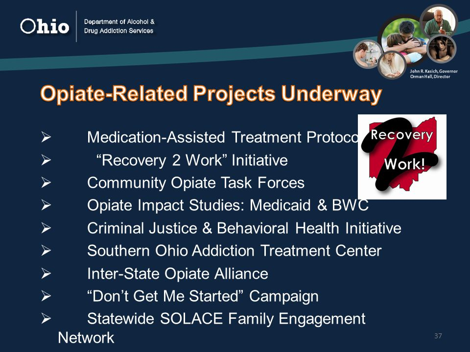 37  Medication-Assisted Treatment Protocol  Recovery 2 Work Initiative  Community Opiate Task Forces  Opiate Impact Studies: Medicaid & BWC  Criminal Justice & Behavioral Health Initiative  Southern Ohio Addiction Treatment Center  Inter-State Opiate Alliance  Don't Get Me Started Campaign  Statewide SOLACE Family Engagement Network