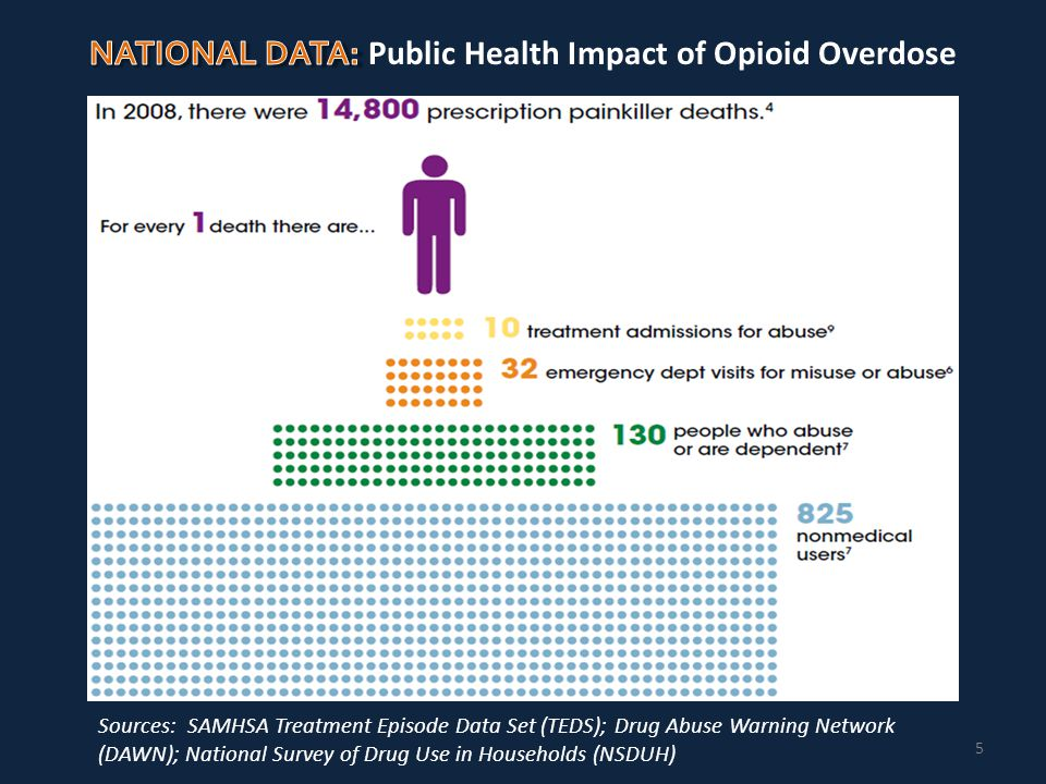 5 Sources: SAMHSA Treatment Episode Data Set (TEDS); Drug Abuse Warning Network (DAWN); National Survey of Drug Use in Households (NSDUH)
