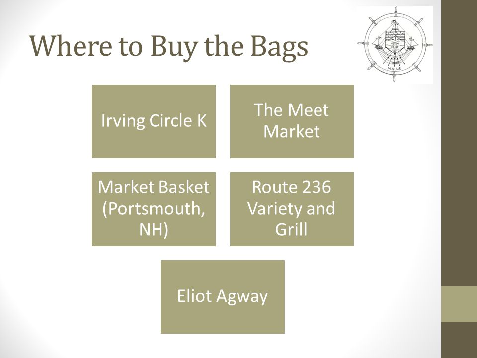 Where to Buy the Bags Irving Circle K The Meet Market Market Basket (Portsmouth, NH) Route 236 Variety and Grill Eliot Agway