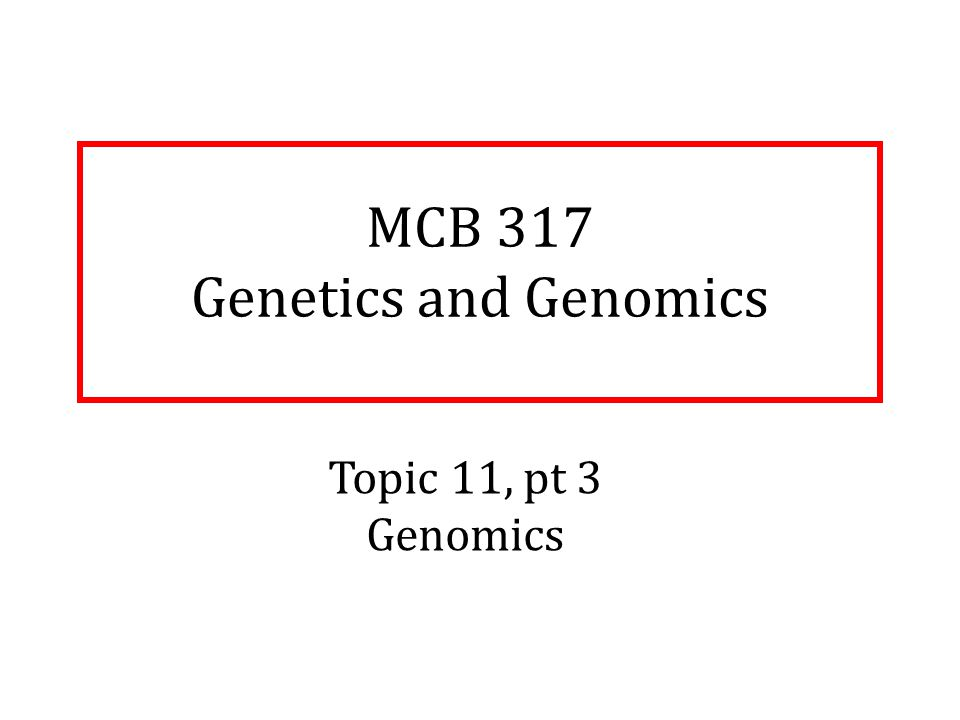 MCB 317 Genetics and Genomics Topic 11, pt 3 Genomics