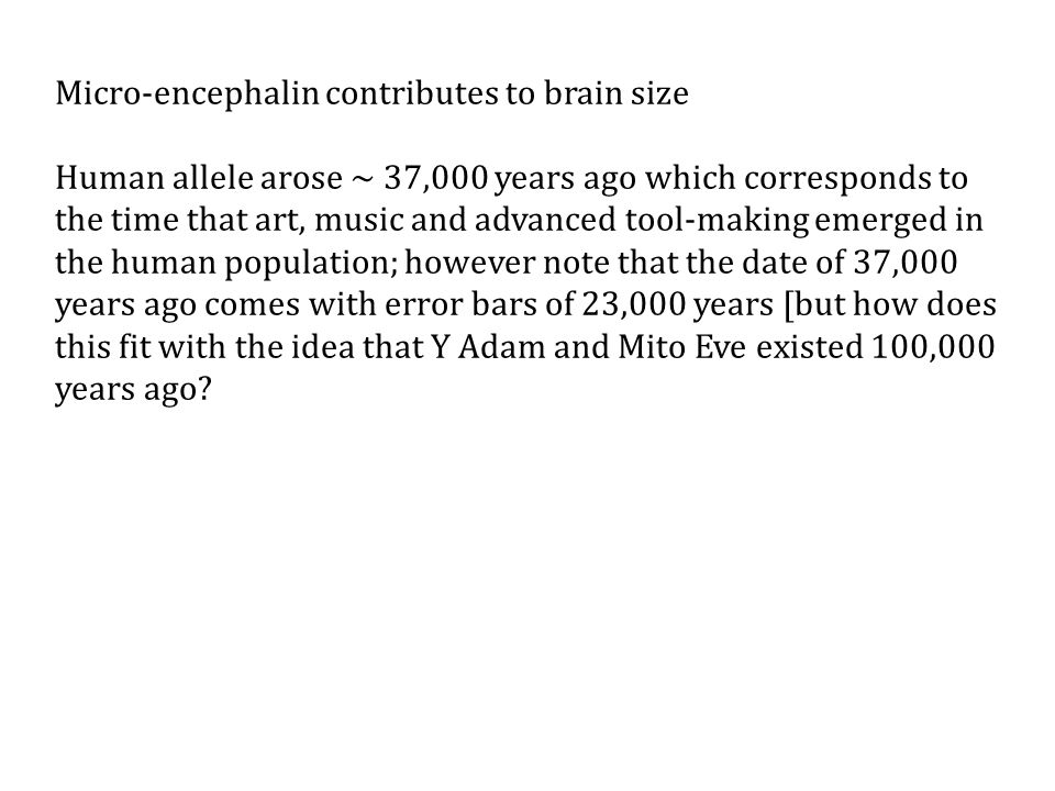 Micro-encephalin contributes to brain size Human allele arose ~ 37,000 years ago which corresponds to the time that art, music and advanced tool-making emerged in the human population; however note that the date of 37,000 years ago comes with error bars of 23,000 years [but how does this fit with the idea that Y Adam and Mito Eve existed 100,000 years ago