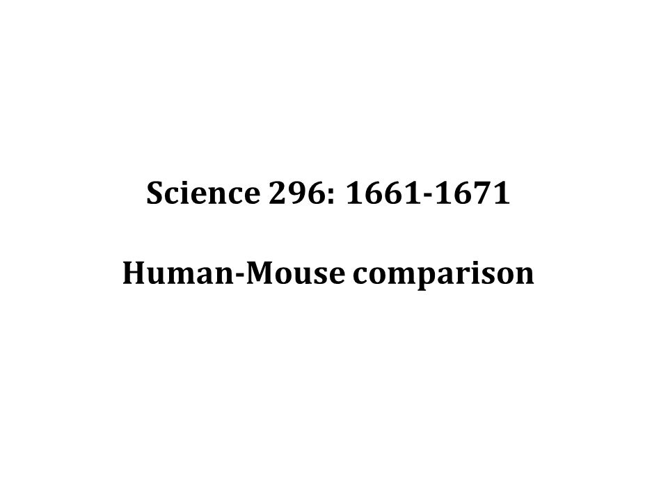 Science 296: 1661-1671 Human-Mouse comparison