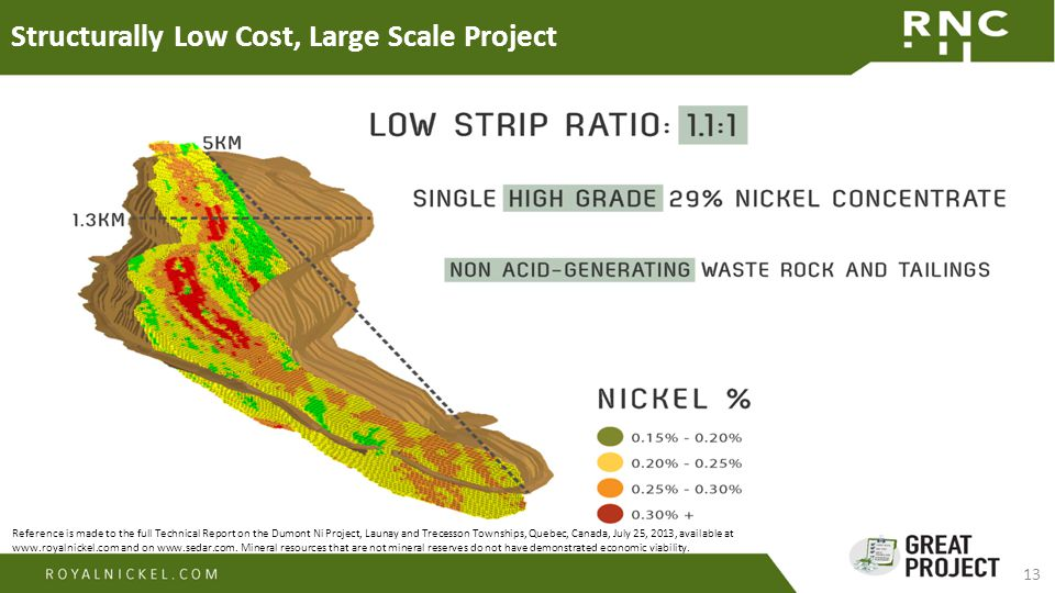 13 Structurally Low Cost, Large Scale Project Reference is made to the full Technical Report on the Dumont Ni Project, Launay and Trecesson Townships, Quebec, Canada, July 25, 2013, available at www.royalnickel.com and on www.sedar.com.