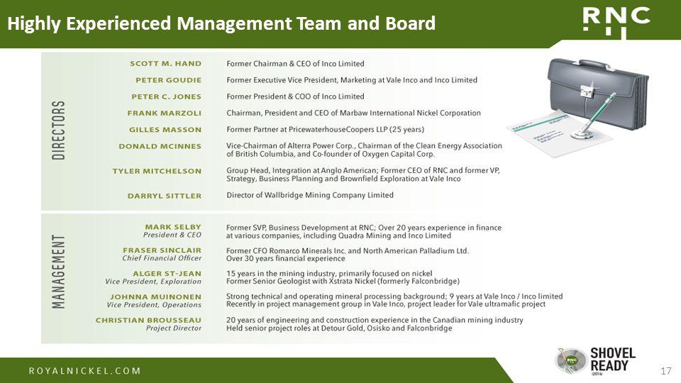 17 Highly Experienced Management Team and Board