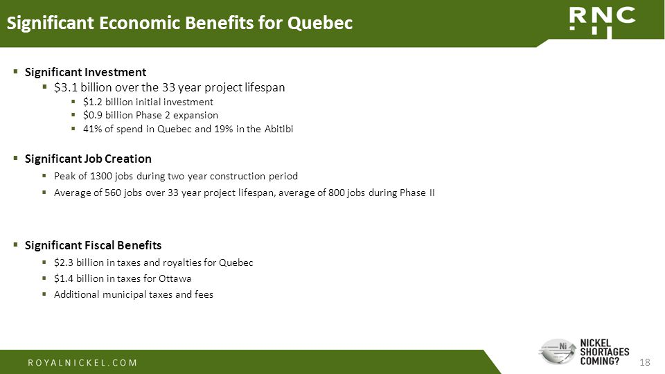 18 Significant Economic Benefits for Quebec  Significant Investment  $3.1 billion over the 33 year project lifespan  $1.2 billion initial investment  $0.9 billion Phase 2 expansion  41% of spend in Quebec and 19% in the Abitibi  Significant Job Creation  Peak of 1300 jobs during two year construction period  Average of 560 jobs over 33 year project lifespan, average of 800 jobs during Phase II  Significant Fiscal Benefits  $2.3 billion in taxes and royalties for Quebec  $1.4 billion in taxes for Ottawa  Additional municipal taxes and fees