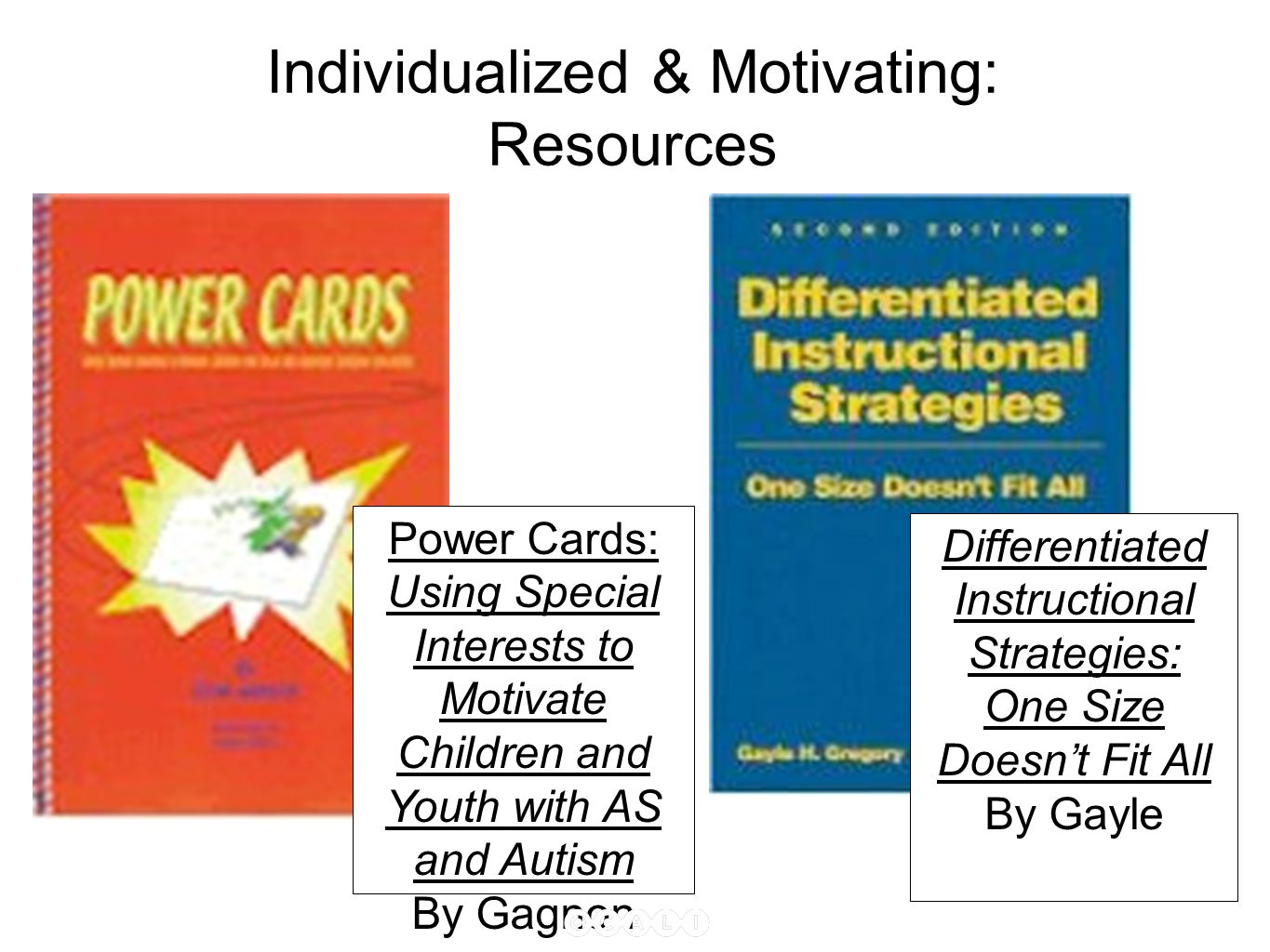 Individualized & Motivating: Resources Power Cards: Using Special Interests to Motivate Children and Youth with AS and Autism By Gagnon Differentiated