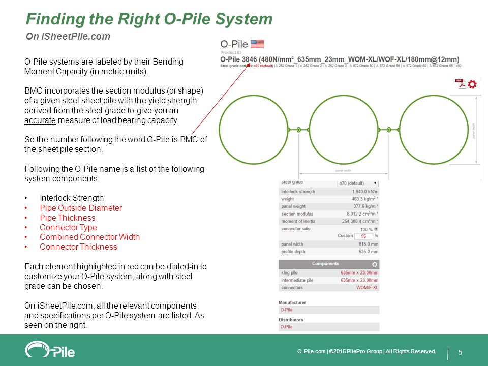 5 Finding the Right O-Pile System On iSheetPile.com O-Pile systems are labeled by their Bending Moment Capacity (in metric units). BMC incorporates th
