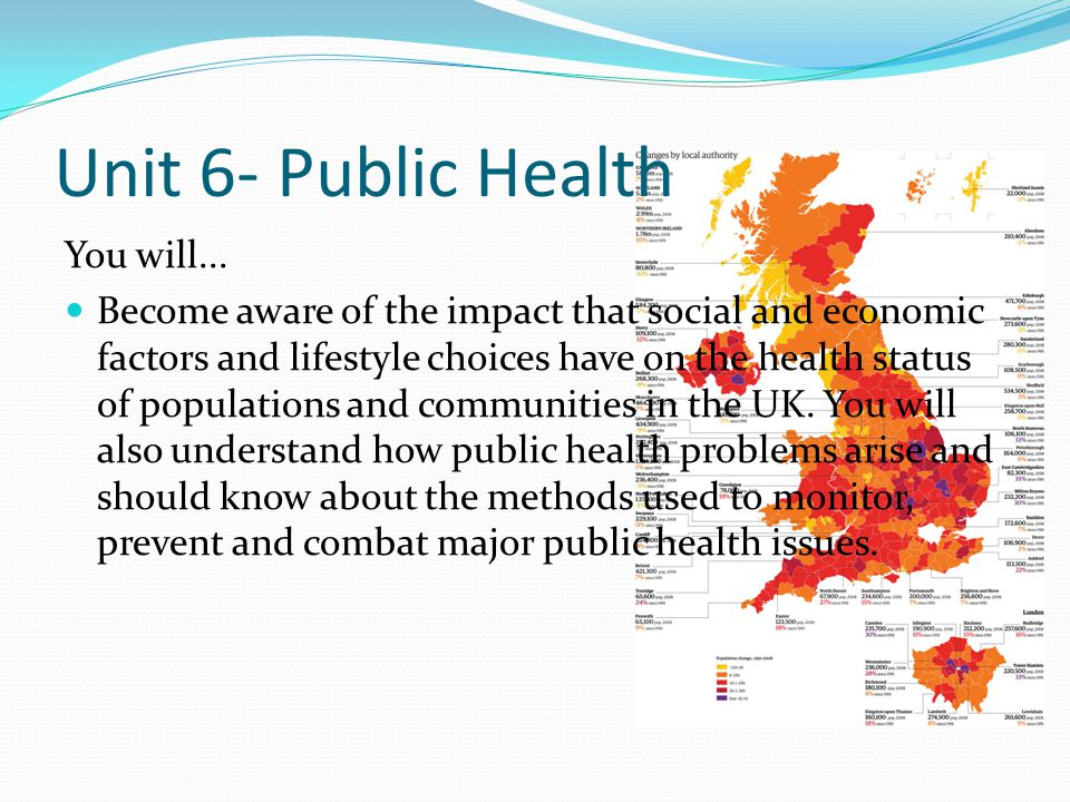 Unit 6- Public Health You will... Become aware of the impact that social and economic factors and lifestyle choices have on the health status of popul