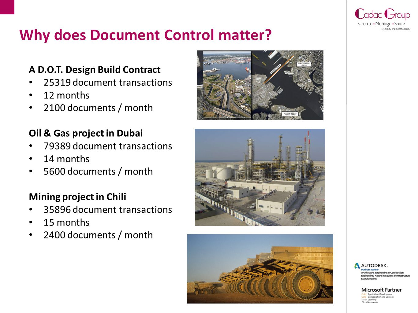 Why does Document Control matter? A D.O.T. Design Build Contract 25319 document transactions 12 months 2100 documents / month Oil & Gas project in Dub