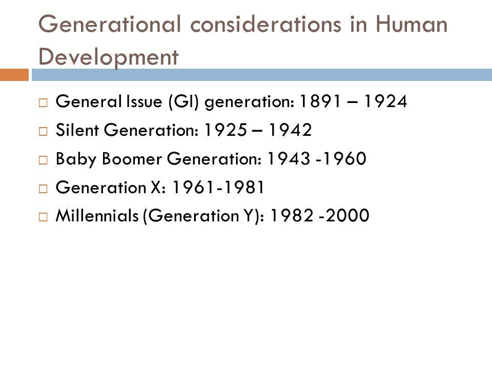 Generational considerations in Human Development  General Issue (GI) generation: 1891 – 1924  Silent Generation: 1925 – 1942  Baby Boomer Generation: 1943 -1960  Generation X: 1961-1981  Millennials (Generation Y): 1982 -2000