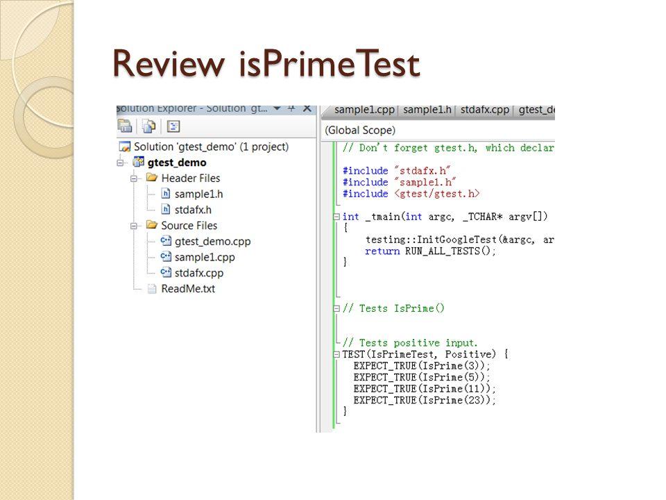 Review isPrimeTest
