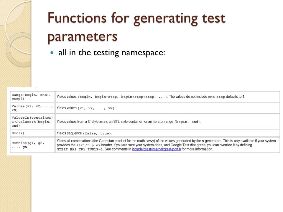 Functions for generating test parameters all in the testing namespace: