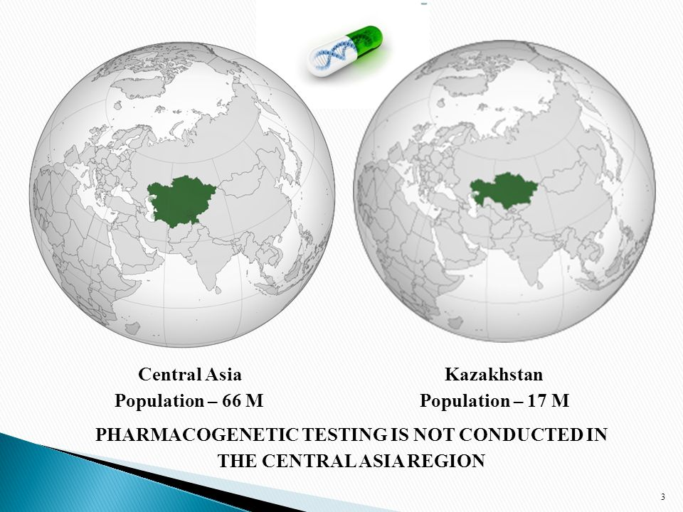 3 Central Asia Kazakhstan Population – 66 M Population – 17 M PHARMACOGENETIC TESTING IS NOT CONDUCTED IN THE CENTRAL ASIA REGION