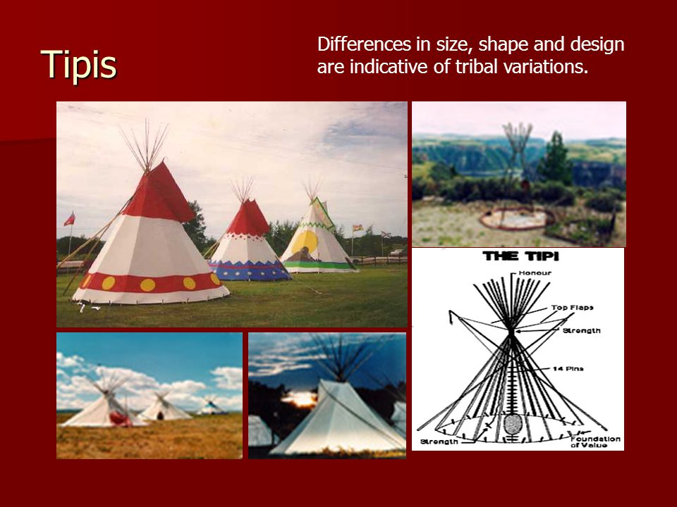 Tipis Differences in size, shape and design are indicative of tribal variations.