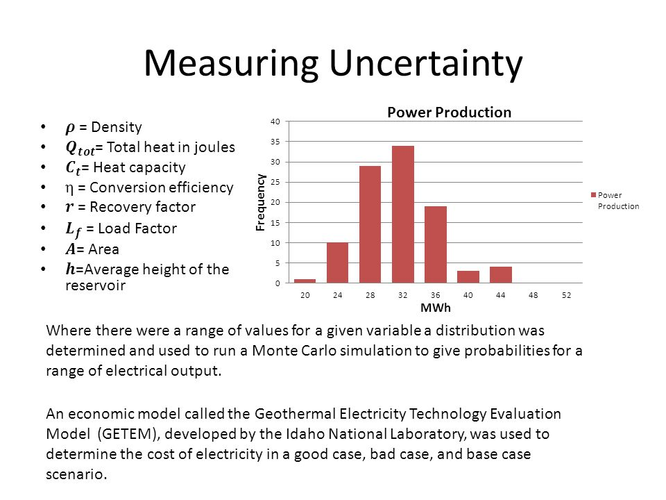 Measuring Uncertainty Where there were a range of values for a given variable a distribution was determined and used to run a Monte Carlo simulation to give probabilities for a range of electrical output.