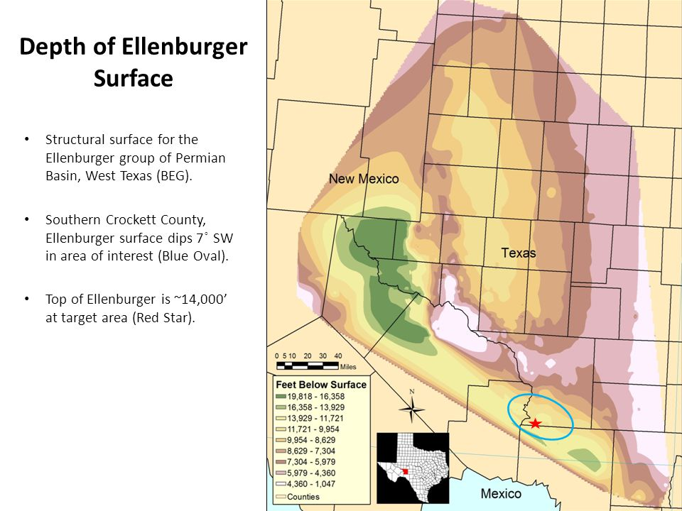 Depth of Ellenburger Surface Structural surface for the Ellenburger group of Permian Basin, West Texas (BEG).